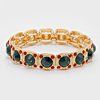 Crystal Rhinestone Christmas Light Stretch Bracelet