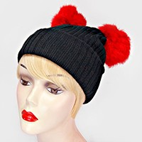 Double Pom Pom Fur Beanie Hat
