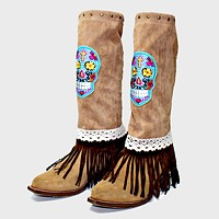 1-Pair Day of the Dead Skull Suede Fringe Boot Toppers