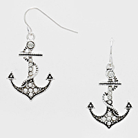 Crystal Pave Anchor Drop Earrings