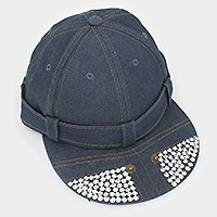 CRYSTAL BLINGED DENIM SNAPBACK CAP HAT