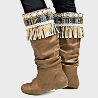 1-Pair Boho Beaded Aztec Stripe Suede Fringe Boot Toppers