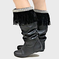 1-Pair Boho Beaded Suede Fringe Boot Toppers