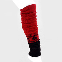 Polka Dot Aztec Pattern Two Tone Color Block Knit Leg Warmers