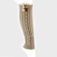 Button & Lace Accented Cable Knit Leg Warmers
