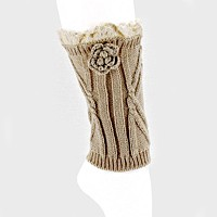 1-Pair Flower & Lace Accented Knit Boot Toppers