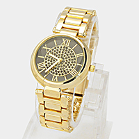 Crystal Pave Roman Numeral Dial Metal Band Watch