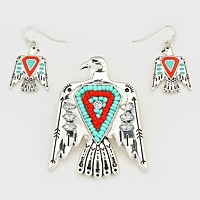 Boho Bead Accented Aztec Bird Magnetic Pendant Set
