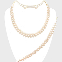 3-PCS Braided Chain Pearl Necklace Jewelry Set