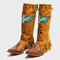 1-Pair Aztec Bird Suede Fringe Boot Toppers