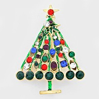 Crystal Accented Christmas Tree Brooch