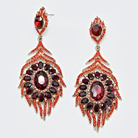 Oval Crystal Rhinestone Flame Evening Earrings