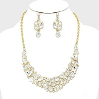 Crystal Rhinestone Cluster Evening Necklace