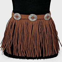 Tribal Boho Suede Fringe Drop Belt with Chain