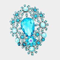 Glass Crystal Flower Cluster Brooch / Pendant