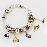 Multi-Beaded American Flag Charm Bracelet