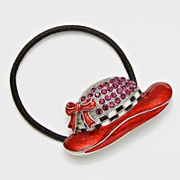 Crystal Enamel Hat Ponytail Stretch Hair Band