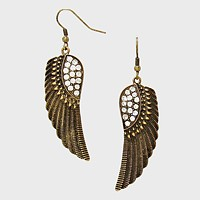 Crystal Accented Metal Angel Wing Drop Earrings