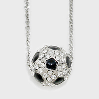 Crystal Pave Soccer Pendant Necklace