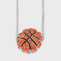 Crystal Pave Basketball Ball Pendant Necklace