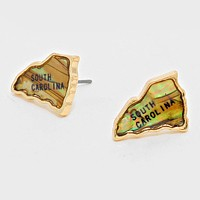 South Carolina State Map Abalone Stud Earrings