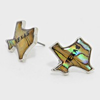 Texas State Map Abalone Stud Earrings