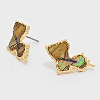 Louisiana State Map Abalone Stud Earrings