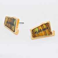 Alabama State Map Abalone Stud Earrings