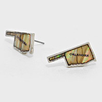 Oklahoma State Map Abalone Stud Earrings