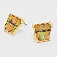 Arkansas State Map Abalone Stud Earrings