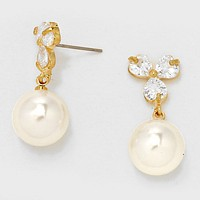 Crystal Cubic Zirconia CZ Sprout Pearl Drop Earrings