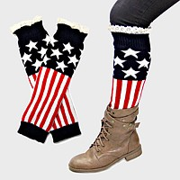 American Flag Knit Lace Boot Toppers