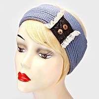 Button Lace Knit Earmuff Headband