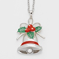 Enamel Christmas Bell Pendant Necklace