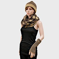 Plaid Chevron Infinity Scarf Glove HAT 3 PCS Set