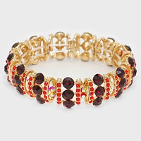 Crystal Rhinestone Bubble Cluster Stretch Evening Bracelet