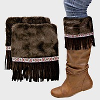 1-Pair Suede Fringe Drop Fur Boot Toppers