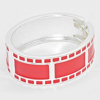 Film Pattern Enamel Hinged Bangle Bracelet