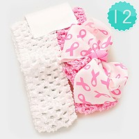 12 PCS - Pink Ribbon Symbol Print Bow Stretch Kids Headbands