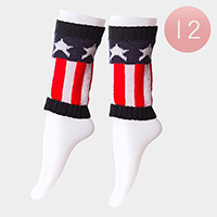 12-Pairs American Flag Leg Warmer Boot Toppers