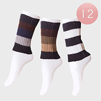 12-Pairs Color Block Stripe Leg Warmer Boot Toppers