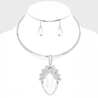 Chunky Marquise Crystal Pedant Metal Hard Choker Necklace
