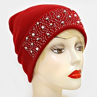 Pearl Crystal Metal Ball Cluster Beanie Hat