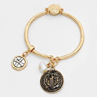Cross & Double Sided Saint Benedict Disc Charm Magnetic Bracelet
