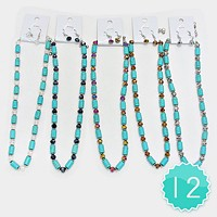 12 PCS - Bead & Turquoise Stand Necklaces