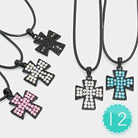 12 PCS - Crystal Rhinestone Pave Cross Pendant Necklaces