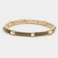 Embossed Metal with Crystal Detail Stretch Bracelet