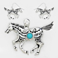 Metal with Turquoise Stone Horse Pendant Set