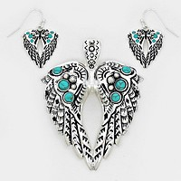 Metal with Turquoise Stone Wings Pendant Set