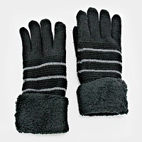 Fleece Lined Knit Stripe Gloves